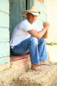 country singer on stoop