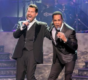 two tenors with mics