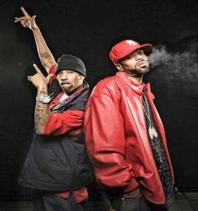 two rappers in red
