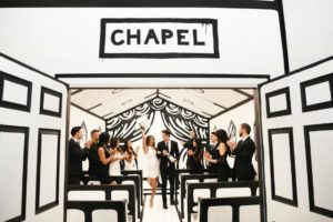 wedding chapel with party