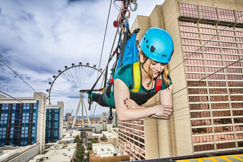 man on zip line