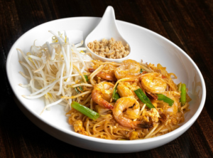 Thai noodles on plate